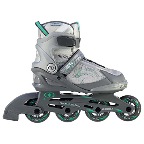 No Fear Damen Fitness Inline Skates Rollschuhe Klingen Vier Rad Sport, Grey/Teal, UK 7 / EU 40