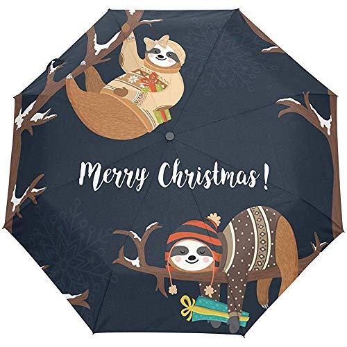 Cute Merry Christmas New Year Auto Open Close Paraguas Anti UV Plegable Compacto Automático Paraguas