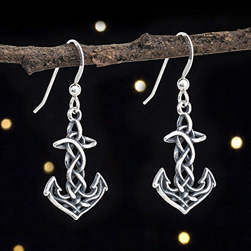Sterling Silver Celtic Anchor Cross, Rope Knot Earrings - Small, 3D Double Sided - Handmade, Solid .925