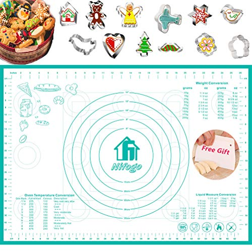 Nifogo - Alfombrilla de silicona para repostería de silicona con medidas, alfombrilla reutilizable para amasar, antiadherente, antideslizante, herramientas de hornear y accesorios para hornear pizza, pan, galletas (+molde para galletas)
