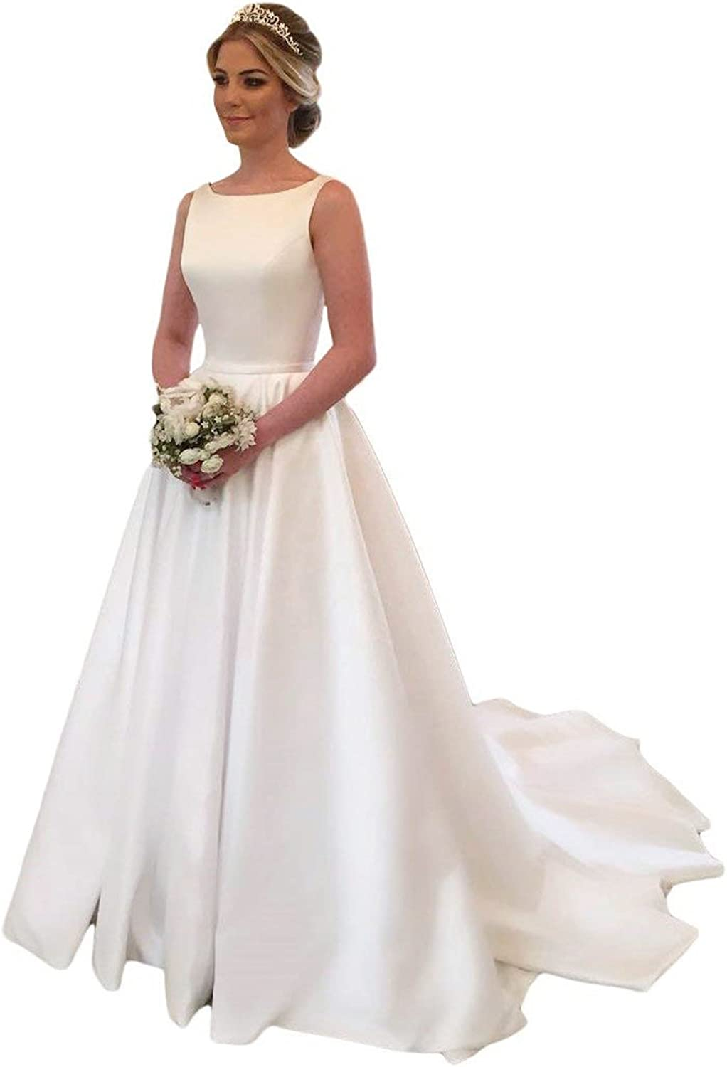XJLY Simple Satin Wedding Dresses Vintage Bridal Dresses with Court Train