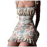 routinfly Damen Sexy Kleid, Mode Frauen Sexy Tie-Dye Schmetterling Print SchnÜRen ÄRmellose Brust Wickelkleid Minikleid RÜCkenfrei Clubwear Partykleid