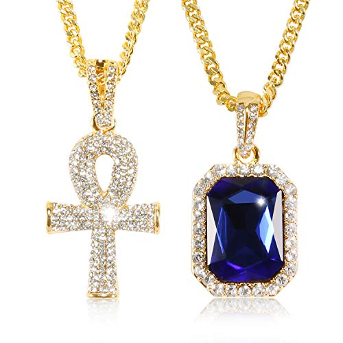 putouzip Men Women 18K Gold Plated CZ Fully Iced Out Ruby Egyptian Ankh Key Cuban Chain Pendant Set
