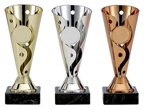 """Bowling-Pokalserie """"Achernsee"""" mit Gravur und 3 Bowling-Anstecknadeln (Sticker)."""