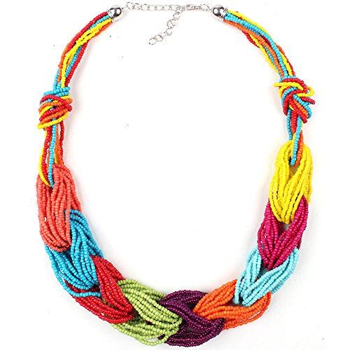 Claire Jin Millet Grano Collar Bohemio Mujer Joyería étnica Gargantilla Joyas