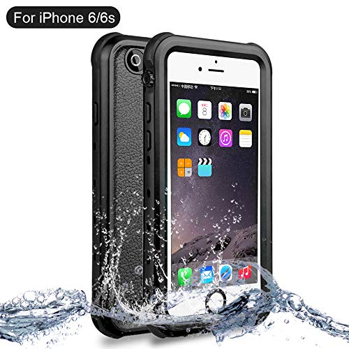 NewTsie Funda iPhone 6, Funda iPhone 6s, Anti-rasguños Impermeable Carcasa Funda Case con Protector de Pantalla Submarino Caso para iPhone 6/6s 4.7 Inch (B-Negro)