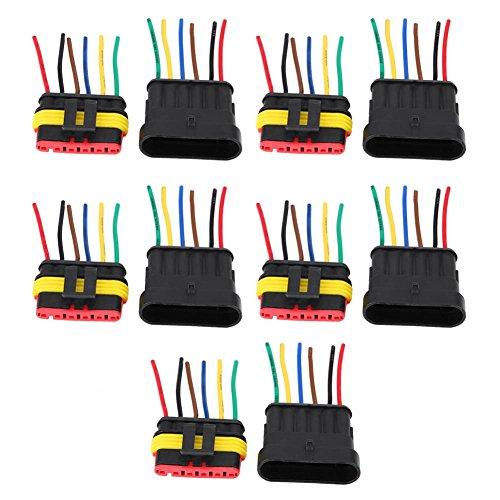 KIMISS Conector eléctrico a prueba de agua,5 par de 6-Pins Conectors eléctrico...