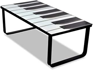 Glass Coffee Table With Piano Print