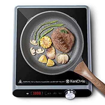 Portable Induction Cooktop Electric Burner 1800Watt - KeniChole Cooktop with 8 Temperature and 8 Power Setting Induction Burner with Timer and Child Safety Lock