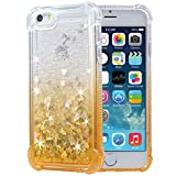 iPhone 5 5s SE Case, Flocute iPhone 5s Glitter Case Gradient Series Bling Sparkle Floating Liquid Soft TPU Cushion Luxury Fashion Girly Women Cute Case for iPhone 5 5s SE (Gold)