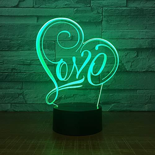 QTYUE 3D lamp acryl slaapkamer bedlampje 3d nachtlampje Customized Valentijnsdag geschenk Liefde Usb LED nachtlampje, cadeau