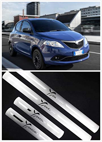 YGAODWQ - Striscia decorativa in acciaio per portiera auto, piastra di protezione per battitacco, accessorio di finitura con logo, 4 pezzi