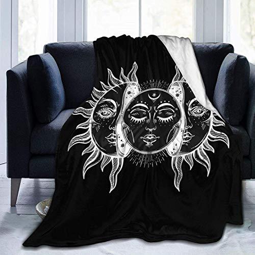Cobijas de eclipse solar vintage para camas Sofás cálido y cómodo franela de microfibra mantas ligeras (hombres, mujeres)