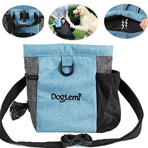 Hotgirlhot Futterbeutel für Hunde,Hunde Leckerlitasche Snack Bag mit Clip & Verfügbares Tasche Schultergurt für Hundetraining und Ausbildung - Wasserfest und Abwaschbar,18 * 19CM/7 * 7.4 Zoll (Blau)