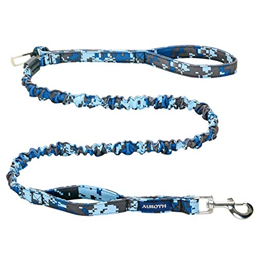 AUROTH Heavy Duty Bungee Dog Leash for Medium Large Breed Dogs, No Pull for Shock Absorption with Car Seat Belt, 2 Padded Handles 6FT Training Dog Leash Blue Camo