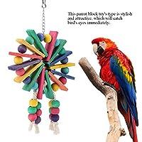 ACHICOO 鳥おもちゃ ペットオウム 木材咀嚼ブロック 観覧車形状ぶら下げ