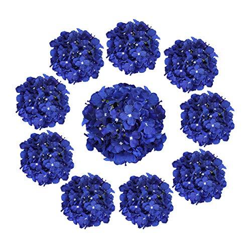 Cotemdery Hortensias artificiales, 10 unidades, flores de hortensias de seda con tallo para arreglos florales, decoración de mesa, decoración de boda, hogar, color azul real
