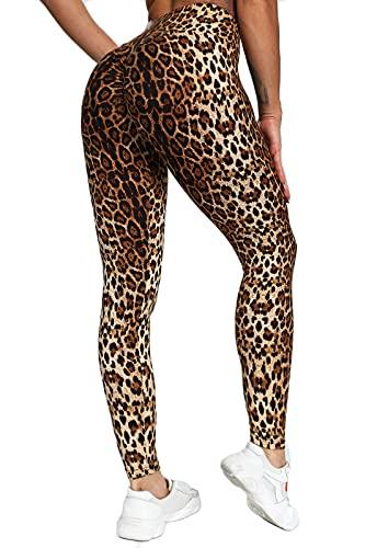 FITTOO Mallas Pantalones Deportivos Leggings Mujer Yoga Alta Cintura Elásticos Fitness Banda Brillante Relieve Push Up Patrón Leopardo Café L