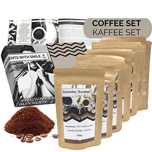 Kaffee Geschenkset gemahlener Kaffee Geschenkbox | 6x60g Kaffee Weltreise Geschenkidee für Frauen Freundin | Kaffeebox Geschenk Box Geburtstag Weihnachten