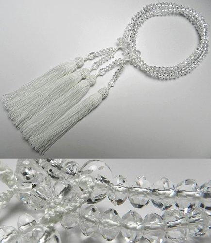 女性用のお数珠 水晶 スターシェイプカット 共仕立て 二重(八宗兼用) 白房