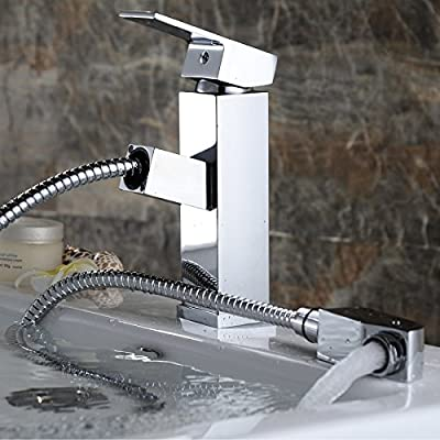 Bathroom Faucet Chrome Pull Out Square Wrench Sink Brass Stainless Steel Modern Single Handle Hole Waterfall Cold Hot Water with Widespread Sprayer for Basin Laundry Vanity Wet Bar Toilet Lavatory
