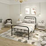 Supbed Metal Platform Twin Bed Frame with Headboard and Footboard Easy Assemble with Under-Bed Storage Twin Size for Girl Boy Matte Black
