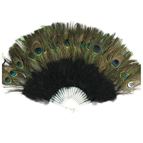 Aisoway 21 Bone Un Solo Lato del Ventre ventaglio di Piume del Pavone di Ballo del Pavone Ventilatore per Il Ballerino Signore della Festa Nuziale di Nero