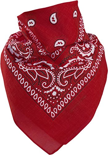 Harrys-Collection Unisex Bandana Bindetuch 100% Baumwolle (1 er 6 er oder 12 er Pack), Farbe:rot