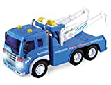 Friction Powered Wrecker Tow Truck Toy Towing Play Vehicle with Lights and Sounds (Double Hooks)