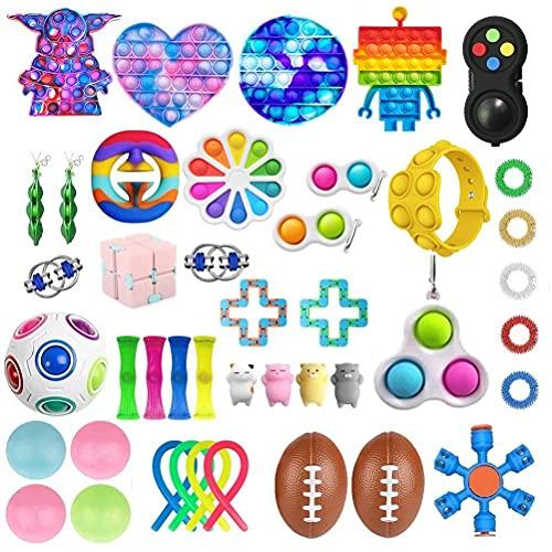 CaCaCook 43 Stück Fidget Toy Set Box, Sensorische Fidget Spielzeug, Anti-Stress Fidget Toy Set, Fidget Spielzeug-Set, Stress Relieve FüR Kinder Erwachsene Spielzeug Set
