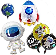 Astra Gourmet 8 Pack Outer Space Balloons | Foil Mylar Happy Birthday Party Balloons with Space Ship, Astronaut and Solar System Planets Theme Foil Balloons