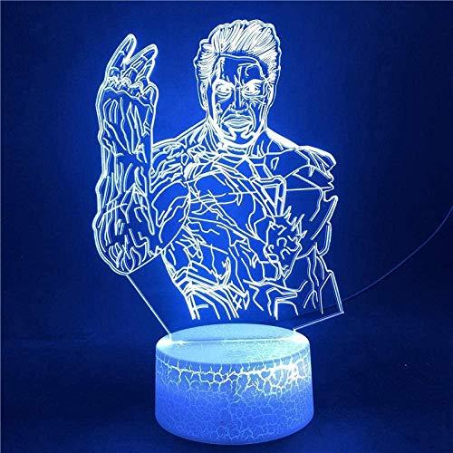 Lámpara de ilusión 3D LED de luz nocturna Reloj despertador Base Los Vengadores Iron Man Marvel para los fans Touch Ensor 16 colores con base brillante remoto