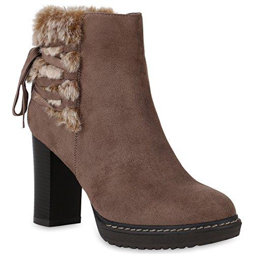 Damen Schuhe Stiefeletten Plateau-Boots Kunstfell Ethno Gefütterte 146292 Khaki Ethno 38 Flandell