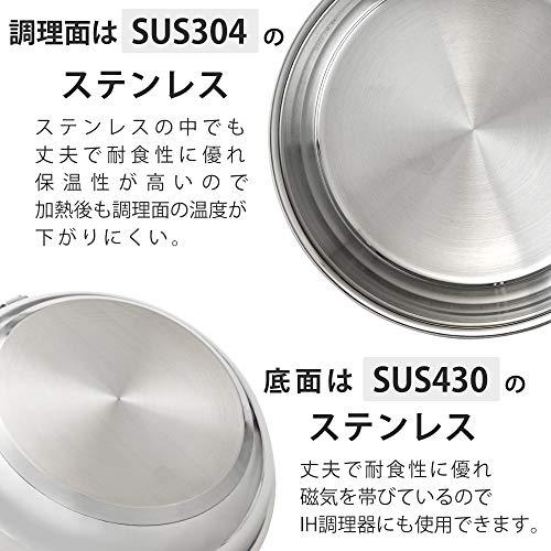 アイリスオーヤマ フライパン 鍋 4点セット 26㎝ 20㎝ IH対応 シルバー ステンレス製 3層構造 SP-SE4