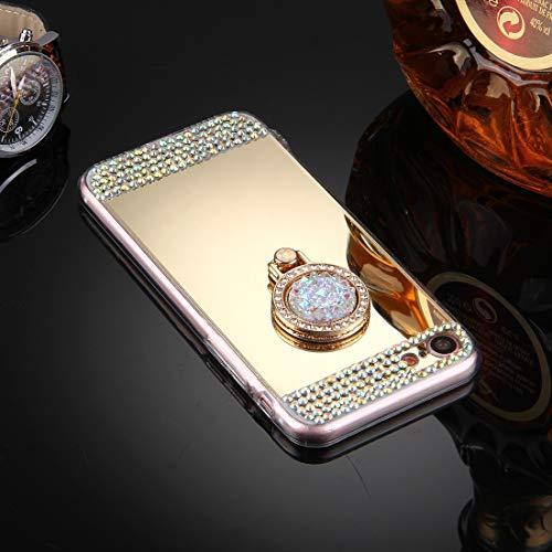 Weyima Caja del teléfono for 7 Caso de la Cubierta Protectora del Espejo con Incrustaciones de Diamantes de galvanoplastia iPhone y 8 con el sostenedor del Anillo Ocultos (Color : Gold)