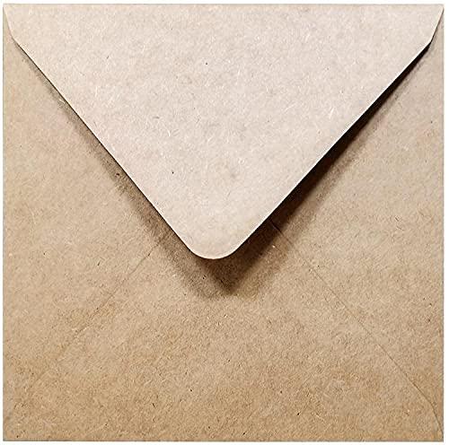 Kraftpapier Quadratische Umschläge, 50 Stück, Hohe Qualität: 140 g/m², Recycling Umschläge, 130 x 130 mm.