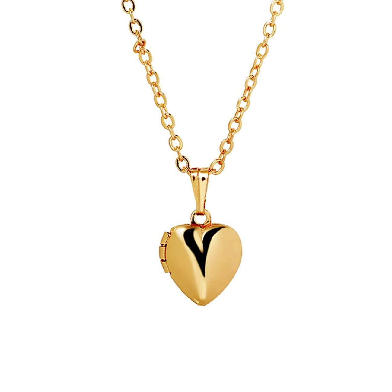 PORPI-JOJO Cute Simple Small 18k Gold Tone Lockets for Women,Locket Necklace That Holds Pictures Jewelry