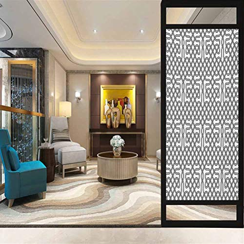 wonderr Privacy Home Decor Decorative Stained Glass Window Film, Celtic Horizontal Knotted Celtic Motif Textured with He, Bathroom Office Meeting Room Living Room Window Membrane, W23.6xH35.4 Inch