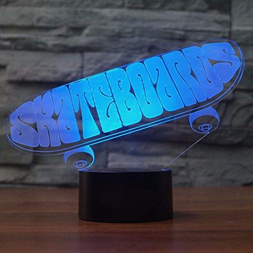 3D Sport Skateboard Lampe optische Illusion Nachtlicht, 7 Farbwechsel Touch Switch Tisch Schreibtisch Dekoration Lampen perfekte Weihnachtsgeschenk mit Acryl Flat ABS Base USB Spielzeug
