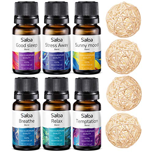 Top 6 Blends Essential Oils Set - Aromatherapy Diffuser...