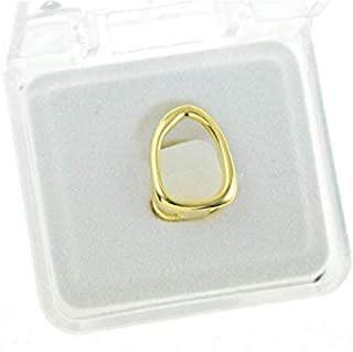 Gold-Tone Open Face Single Cap Top Upper Canine Tooth Hip Hop Grillz Grill and Mold Kit