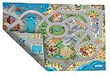 ACHOKA Tapis de Jeux Ultra Fin Réversible Bord de Mer- Ville pour Bébés et Enfants – Filles et Garçons- Polyester Résistant- 100x150cm - Routes Connectables avec Autres Designs