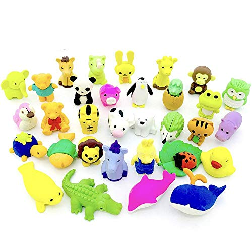 Melo-bell Mini Animal Erasers, Pack of 50 3D Animal Pencil Earplugs Rubber Toy Puzzle Erasers Bulk Assembled for Party Favors Games Prizes Carnivals and Classroom Rewards
