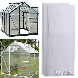 wolketon 14 x planchas alveolares de cámaras huecas de policarbonato de 4 mm 10,25 m², placas de invernadero de 60,5 x 121 cm, placas de doble puente para jardín, garajes, resistentes a rayos UV