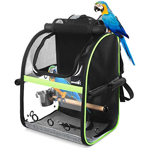 Pecute Bird Carrier Backpack, Parrots Bird Backpack with Visible Window, Adjustable Height Standing Perch, Feeding Cans, Waterproof Pads, Lightweight Foldable Birds Travel Cage for Hiking Camping