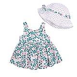 MAHUAOYIXI Vestido de verano para niña, estampado floral, vestido de princesa para bebé, estampado de fresa, gorro de verano, turquesa, 12-18 Meses