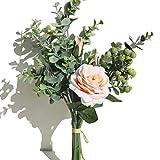 KIRIFLY Arreglos de flores artificiales, rosas de seda blanca, hojas de eucalipto, bayas de boda, flores de ramos, decoraciones de mesa florales, centros de mesa, decoración del hogar (champán)