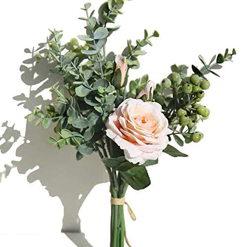 KIRIFLY Künstliche Blumen,Künstlich Rose Unechte Blumen Seide Eukalyptus Decor Blumenarrangements Hochzeit Blumenstrauß Pflanzen Beere Tisch-Mittelstücke Dekoration(Champagner)