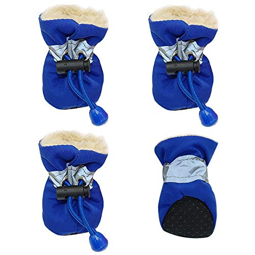 JIUYUE 4 stks Waterdichte Hond Schoenen Reflecterende Anti Slip Regenlaarzen Verstelbare Winter Warm Sokken Sneaker Paw Protector Voor Honden Katten, L, Blauw