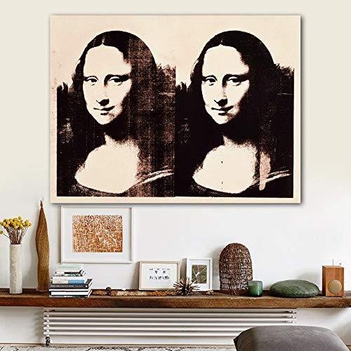 T-YIFUZX DIY Dipingere con i Numeri Nessuna Cornice Harmony of Mona Lisa, Andy Warhol's Art Painting Living Room Modern Art Wall 40x50cm